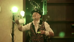 Bubble show at the festival stock video footage