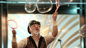 Bubble show at the festival stock footage
