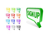 Bubble Sign Up Icon Set Stock Images