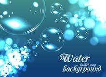 Bubble soap background. Blue nature vector illustration stock illustration