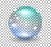 Bubble soap. Transparent soap bubble. Vector realistic illustration on checkered background