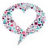 Bubble with a social media icons and heart shape. Social media icons in bubble shape with a heart inside Stock Images