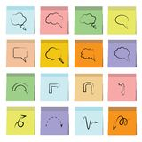 Bubble speech, arrow icons sticky note paper Stock Photos