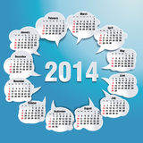 2014 bubble speech calendar Royalty Free Stock Image