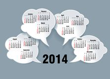 2014 bubble speech calendar Stock Images