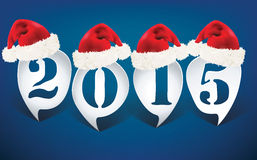 Bubble speech 2015 with christmas hats. Illustration Royalty Free Stock Photography