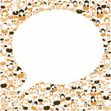 Ask a question bubble speech frame. Bubble speech frame with neutral color people around the bubble. Ask a question and answer concept Royalty Free Stock Photos
