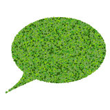 Bubble speech made from green leaves. Beautiful graphic made of green leaves on gradient background Royalty Free Stock Photos