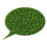 Bubble speech made from green leaves. Royalty Free Stock Photography
