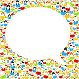 Bubble speech with people icons stock illustration
