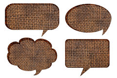 Bubble speech with sack cloth Stock Photos