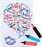 Bubble speech sketch on notebook with lined sheets Royalty Free Stock Photo