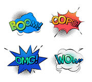 Bubble speeches for wow and omg, oops and boom. Cartoon bubble comic speech exclamation and replicas. Sound onomatopoeia for explosion like boom, oops or ops and Royalty Free Stock Images