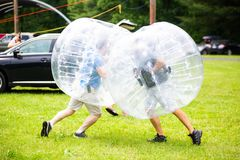 Bubble sport fun activity for kids and adults. In summer royalty free stock image