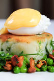 Bubble and squeak with poached egg Stock Photos