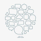 Bubble talk minimal line icons infographic Royalty Free Stock Images