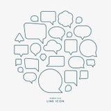 Bubble talk minimal line icons infographic vector illustration