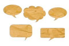 Bubble talk tag recycled paper craft stick. Stock Photos