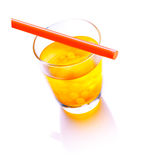 Bubble Tea. With a red straw with mango bubbles isolated on white background stock photo