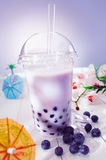 Bubble tea with berries royalty free stock photography