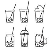 Bubble tea icon set in line style vector line illustration. Bubble tea icon set in line style, with milk tea, shake, drink, pouring, boba juice and more. vector royalty free illustration