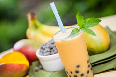 Bubble tea with ingredients Stock Photo