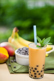Bubble Tea. Mango smoothie bubble tea with fruit and tapioca pearls in the garden stock image