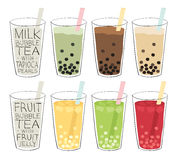 Bubble tea. Recipes mixed with fruit or milk, with tapioca balls or fruit jellies Royalty Free Stock Photo