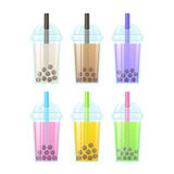 Bubble tea set. Bubble Tea, milk smoothie with tapioca pearls. Set of tall drink glasses with straws. Glossy bubble tea icons vector illustration Stock Image
