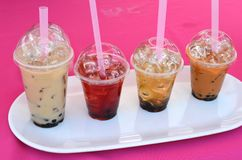 Bubble Tea. A tray of different flavors of bubble tea Stock Image