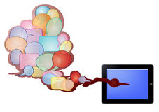 Bubble text and tablet pc. Illustration of tablet PC and bubble text in red cloud isolated in white Stock Photos