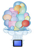 Bubble text and tablet pc. Illustration of tablet PC and bubble text in blue cloud isolated in white Stock Images