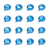 Bubble travel icons Stock Photos