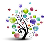 Bubble tree. Abstract tree silhouette with colorful bubbles Stock Photo
