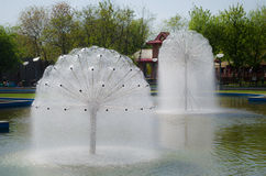 Bubble water fountain Stock Photo
