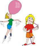 Bubblegum fun. Blowing bubblegum balloon Stock Illustration