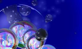 Bubbles. Multicolor bubbles on a Blue background stock illustration