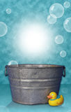 Bubbles. Washtub with Duck and Bubbles Digital Photography Prop royalty free stock images
