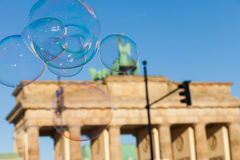 Bubbles in the air at the Brandenburg Gate Royalty Free Stock Images