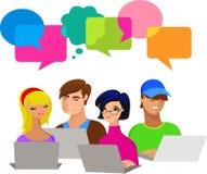 bubbles barn för anförande för datorfolk stock illustrationer