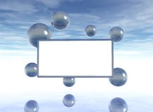 Bubbles and blank white board Stock Images