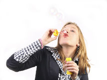 Bubbles blowing royalty free stock photo