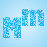 Bubbles in blue. Alphabet of bubbles. Eps 10. Bubbles in blue on a light blue background Stock Photography