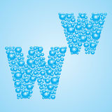 Bubbles in blue. Alphabet of bubbles. Eps 10. Bubbles in blue on a light blue background Stock Image