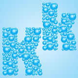 Bubbles in blue. Alphabet of bubbles. Eps 10. Bubbles in blue on a light blue background Royalty Free Stock Photo