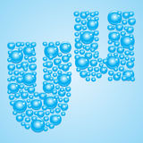 Bubbles in blue. Alphabet of bubbles. Eps 10. Bubbles in blue on a light blue background Royalty Free Stock Image