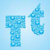 Bubbles in blue. Alphabet of bubbles. Eps 10. Bubbles in blue on a light blue background Stock Photos