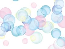Bubbles. Blue, pink and yellow soap bubbles on white background stock illustration