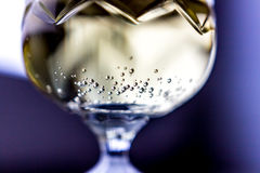 The bubbles in a champagne glass Stock Images