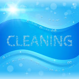 Bubbles cleaning banner with washing soap foam Stock Photography